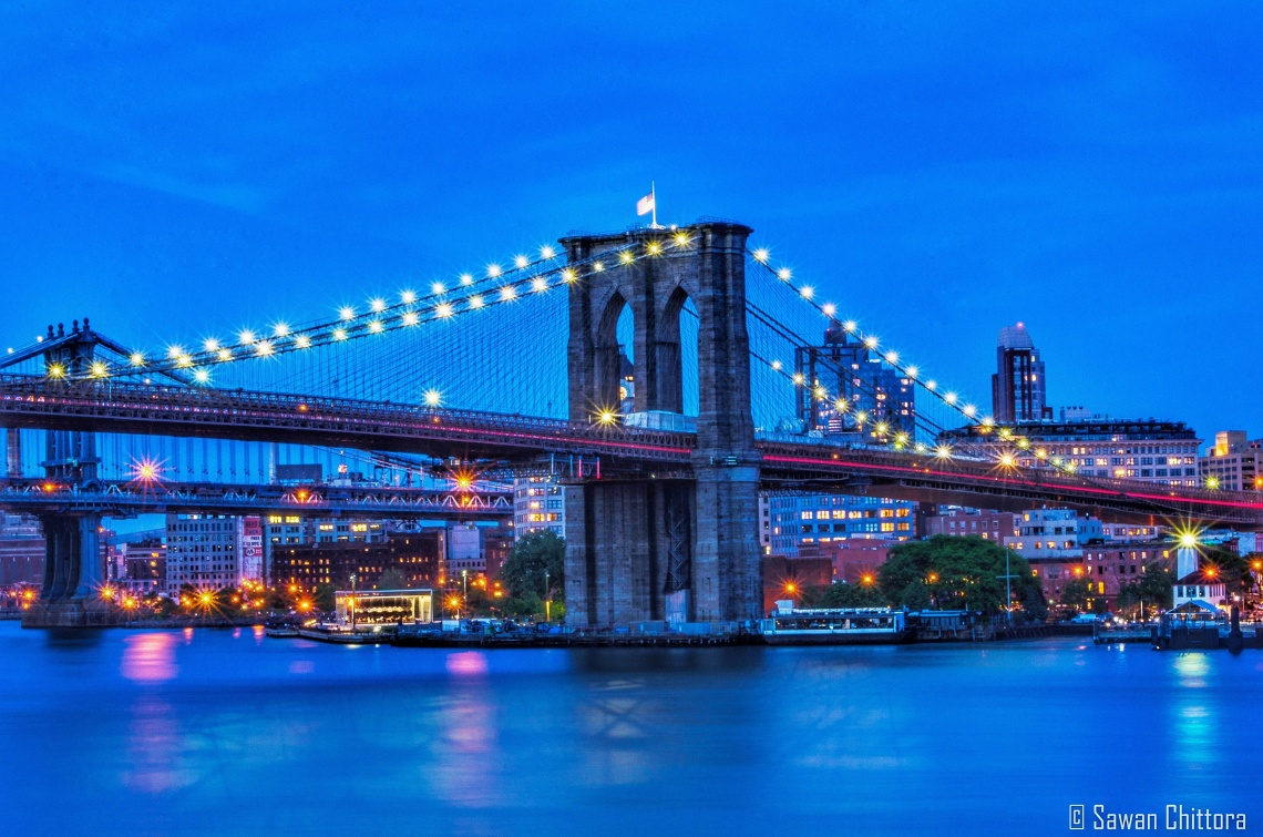 ~ Mind in Manhattan, Heart in Brooklyn. ~ #BlueHour #MakeDecision #CrossBridge